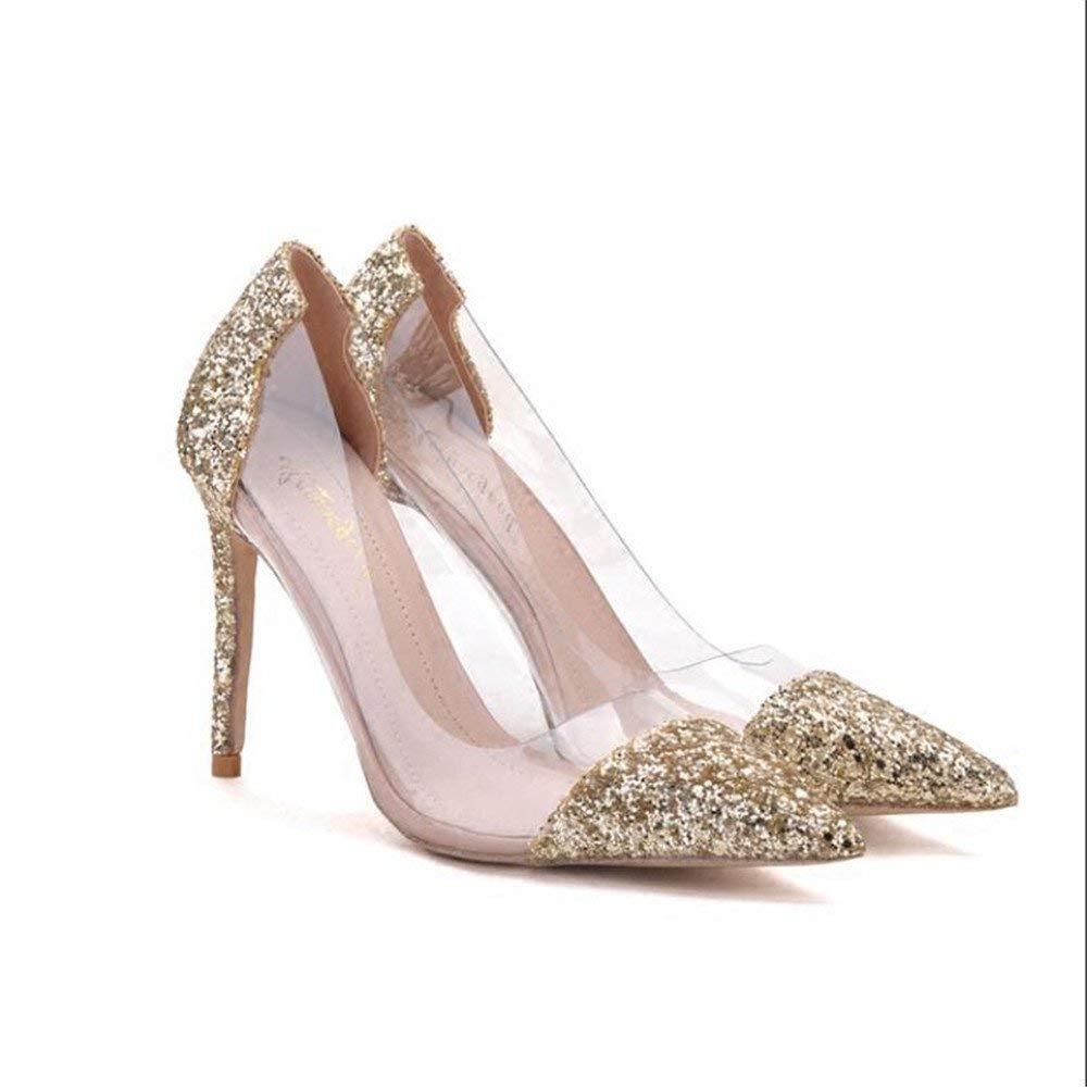 Eeayyygch Gericht Schuhe Tipps gut mit High Heels weiblich war dünn Gold Silber Wilde Flut Zeigen Schuhe Frauen Hochzeitsschuhe (Farbe   EU 40, Größe   schwarz 8CM)