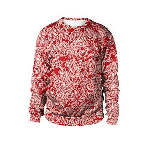 Makeupstore Sweatshirt Woman Long Sleeve, Halloween Maggots Print Party Pullover Top Blouse Sweatshirt Pullover Tops