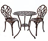 HOMEFUN Bistro Table Set, Outdoor Patio Set 3 piece Table Chairs, Tulip Carving Weather Resistant (Antique Bronze)
