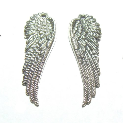 Large Wing Charm Pendant 2-inch Steampunk Right & Left Sides 12 piece lot (Making Angel Wings For Costume)