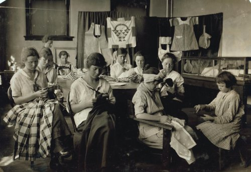 1917 child labor photo: Sewing and darning. Training School for Deaf Mutes. See 4843-4851. Location: Sulphur, Oklahoma / Lewis W. Hine. Vintage 8x10 Photograph - Ready to Frame