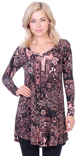 Popana Women's Tunic Tops for Leggings Long Sleeve Shirt Plus Size Made in USA Small ST16