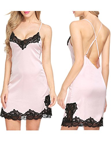 Ekouaer Womens Lingerie Sexy Sleepwear Satin Lace Chemise Nightgown(Pink, Large) (Silky Nightie)