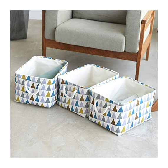 """Fabric Storage Baskets 3-Pack Rectangle Storage Basket Collapsible Baskets for Organizing with Handles for Shelves… - 3 Pack Storage Baskets-15.5"""" L x 11.8"""" W x 8.3"""" H,Functional storage baskets use in the playroom, family room, laundry area, bedroom, closet, storage room, car, etc - Ideal toy baskets or shelf baskets for storage organizer shelves, Home Closet, bookcase , desk, or floor Premium Quality Fabric-This fabric basket is made of durable canvas and thicken environmental EVA,sturdy metal rod frame around the top for stability to keeps its shape even when empty. Durable and high quality material make this storage basket last a good long time.Reinforced cotton rope handles make for easy and comfortable transporting Multi Purpose-Perfect storage basket for toys, books, magazines,dog toys basket,shoe basket,clothes basket,shelf,baby bin,pet toy storage,towel basket,blankets,decorations. Collapsible basket set provides attractive, lightweight solutions to many storage needs while keeping household items tidy and organized - living-room-decor, living-room, baskets-storage - 51Qt2xgd2NL. SS570  -"""