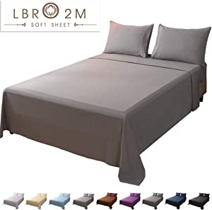 LBRO2M Bed Sheet Set King Size 16 Inches Deep Pocket 1800 Thread Count 100% Microfiber Sheet,Bedding Super Soft Comforterble Hypoallergenic Breathable,Resistant Fade Wrinkle Cool Warm,4 Piece (Grey)