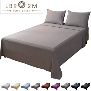 LBRO2M Bed Sheet Set Queen Size 16 Inches Deep Pocket 1800 Thread Count 100% Microfiber Sheet,Bedding Super Soft Comforterble Hypoallergenic Breathable,Resistant Fade Wrinkle Cool Warm,4 Piece(Grey)