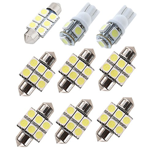 Muchkey Car Led Interior Light Bulb For New Santa Fe Replacement Car Dome Light Bulb Kit 9pcs White ()