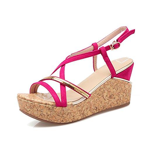 es wedges sandals platform open toe cross strap platform shoes women's shoes Red 5 (Red Cross Nursing Shoes)