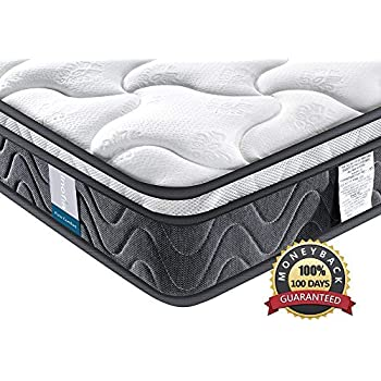 Inofia Sleeping Full Mattress, Comfort Hybrid Innerspring Mattress 3D Knitted Dual-Layered Breathable Cover-8-Certified CertiPUR-US-100 Night Trial