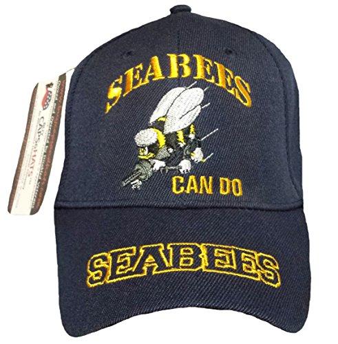 SeaBees Baseball Cap NAVY Blue Hat U.S. Veteran Retired Can (Navy Seabees Vietnam)