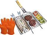 Stainless Steel Non Stick Folding BBQ Portable Grilling Basket set with Removable Handle and Gloves barbecue grill for fish steak meat vegetables - veggies shrimp kabob camping cookware charcoal gas