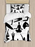 Ambesonne Meditation Duvet Cover Set Twin Size, Yoga Postures Woman Body Relaxation Chakra Mystic Hobby Theme Hippie Print, Decorative 2 Piece Bedding Set with 1 Pillow Sham, Black White