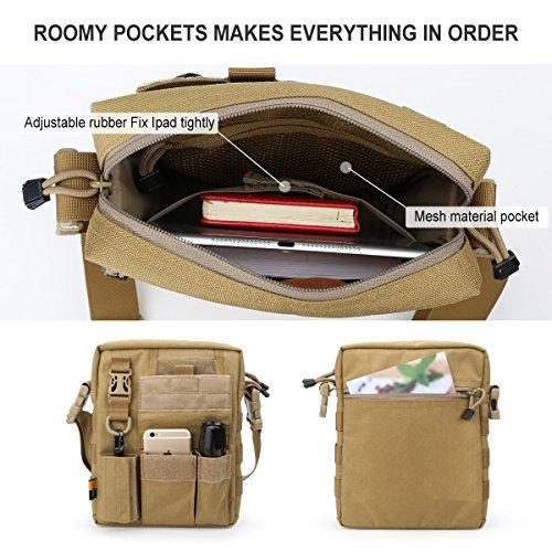 LooYoo Men's Multifunctional Messenger Bag, Anti Theft Crossbody Bag Classic Shoulder Bag, Business Man Bags, Waterproof Canvas Messenger Handbag For Men Business Outdoor Sports Travel (Army Green) by LooYoo (Image #5)