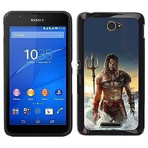 EJOY---Cubierta de la caja de protección para la piel dura ** Sony Xperia E4 ** --sexy man músculos abdominales del mar Poseidón