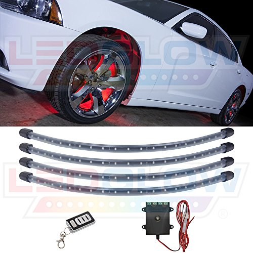 LEDGlow 4pc Red LED Wheel Well Fender Accent Neon Lighting Kit for Cars & Trucks - 6 Patterns - Music Mode - 24
