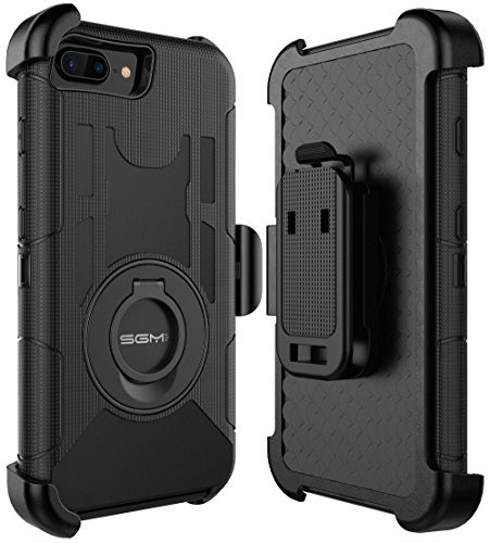 iPhone 7 Plus Case, iPhone 7 Plus Holster case, SGM Hybrid Dual Layer Combo Armor Defender Protective Case With Kickstand + Belt Clip Holster For Apple iPhone 7 Plus