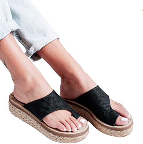 Women Girl Comfy Soft Wedge Slippers Sandals Shoes Bunion Corrector Plus Size UK