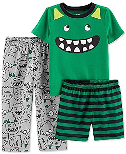 (Carters Boys 3-Piece Poly Pajama Sets (Green/Monster, 4) )