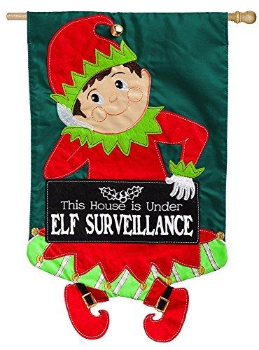 Cheap Evergreen Elf Surveillance Applique House Flag, 28 x 44 inches