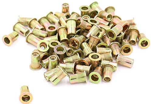 iExcell 100 Pcs M3 Thread Pitch 0.5mm Zinc Plated Carbon Steel Rivet Nut Flat Head Insert Nutsert
