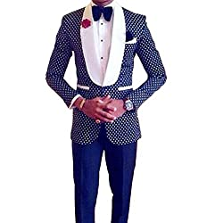 Botong Men's Slim Fit 2 PC Wedding Suit Shawl Lapel Groom Wedding Tuxedos Prom Suits