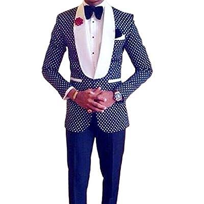Botong Men's Slim Fit 2 PC Wedding Suit Shawl Lapel Groom Wedding Tuxedos Prom Suits