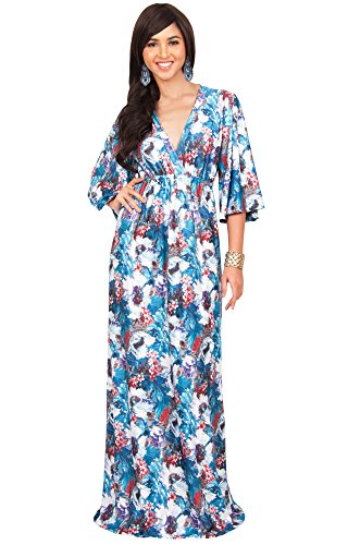 KOH KOH Womens Long Kimono Sleeve Flowy Floral V-Neck Casual Summer Maxi Dresses