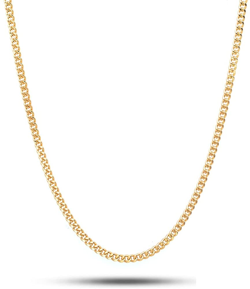 Necklace Chain Genuine Real 18k Rose G//F Gold Solid Mens Heavy Curb Link Design