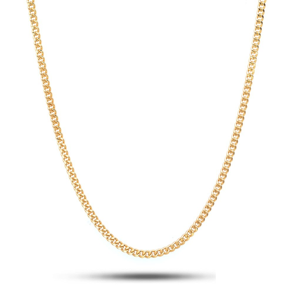 18K Solid Yellow Gold 2.5mm Cuban Curb Link Chain Necklace- Made in Italy- 22''-18 Karat