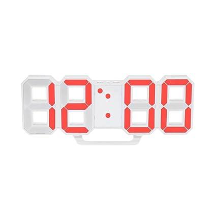 Dooret Reloj de Alarma LED Digital 3D, Reloj de Escritorio Eléctrico con 24 Horas y 12 ...
