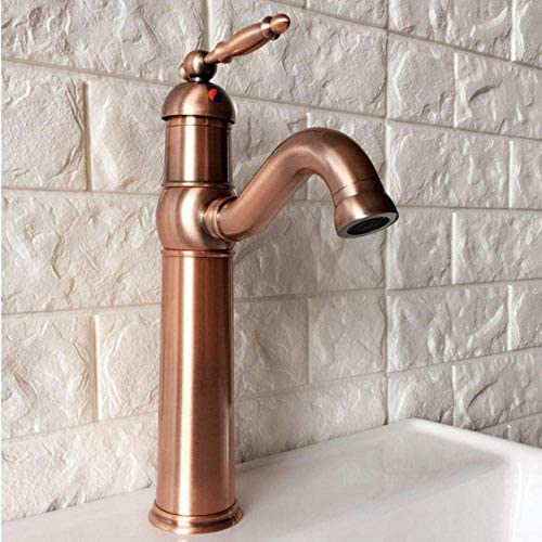Gulakey 蛇口旋回吐水をタップアンティークレッド銅シングルハンドル単穴キッチンシンク&浴室の蛇口洗面器のミキサータップ