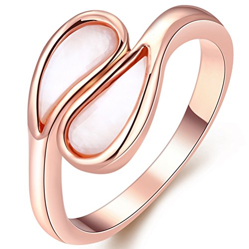 FENDINA Promise Ring for Her 18K Rose Gold Plated Opal Ring Criss Cross Anniversary Engagement Ring for Women (One Way Belly Button Rings)