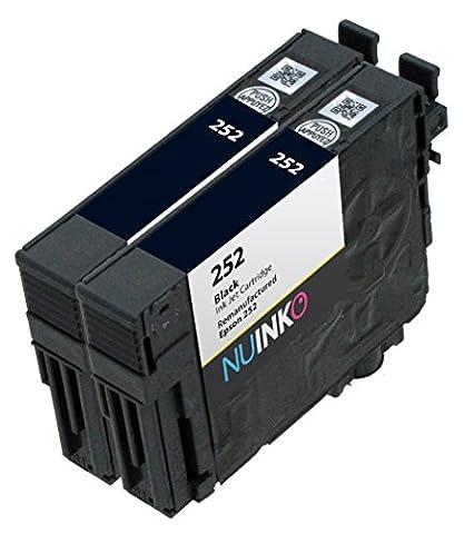 NUINKO 2 Pack Remanufactured Epson 252 Ink Black Cartridge for Epson WorkForce WF-3640 WF-3620 WF-7620 Printers (2 (Printer Cartridges Wf 3640)