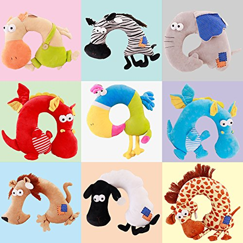 LUCKSTAR U-shaped Pillow - Soft & Small Cartoon Neck Pillow Comfortable Travel Pillow Animal Travel Neck Pillow Plush Toy Provides Relief and Support for Neck Pain Suit for Travel, Home (Blue Dragon) by LUCKSTAR (Image #6)