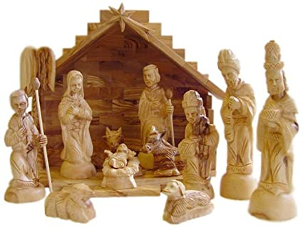 Deluxe Olive Wood Nativity Set Hand Carved In Bethlehem The Holy