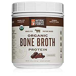 NEW! Organic Bone Broth Protein Powder, Best-Tasting Chocolate Flavor – Made from High Quality Grass-Fed Beef Bone Broth *No Fillers or Chicken, Rich in Ancient Collagen* by Natural Force, 13.81 Ounce
