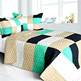 [So Dance] Vermicelli-Quilted Patchwork Geometric Quilt Set Full/Queen