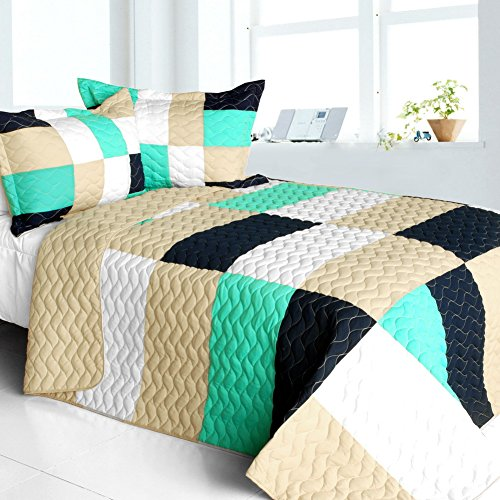 [So Dance] Vermicelli-Quilted Patchwork Geometric Quilt Set Full/Queen by ONITIVA