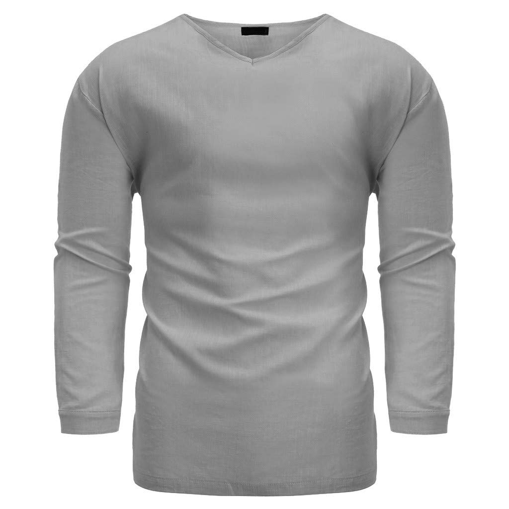 Beautyfine Mens 2019 Long Sleeve Top Fashion Pure Button Blouse