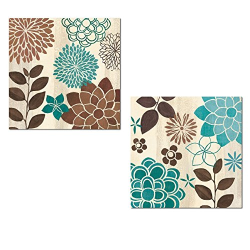 - Gango Home Décor Beautiful Turquoise and Brown Flower and Leaf Print Set by Veronique Charron; Two 12x12in Poster Prints