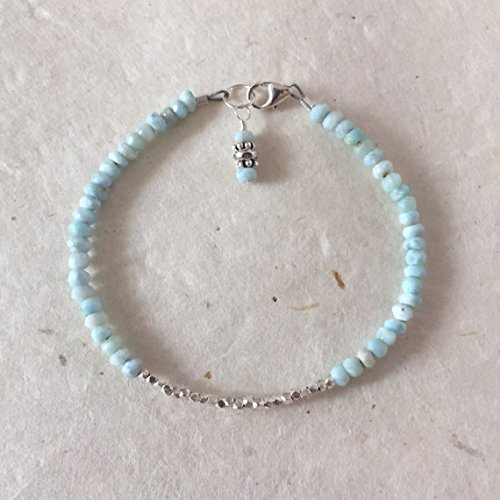 JP_Beads Larimar Karen Hill Tribe Thai Silver Beaded Bracelet, Sundance Style, Boho Chic, Stacking Bracelet, Layering Bracelet, Gifts for Her 3.5-4 mm
