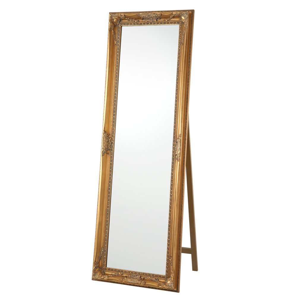全身鏡 大型 スタンドミラー 全身 鏡 姿見 ビッグ 飛散防止 ミラー かがみ スタンド 〔幅60cm〕 ゴールド B016K18W1Q