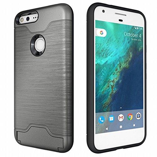 Funda Google Pixel XL , [Happon] TPU Ultra Thin Caja del Teléfono Móvil con Soporte Función Ranuras para Tarjetas Funda Protectora Fibra de Carbono Look Funda Móvil Funda Blanda Funda Trasera Shell pa Gris oscuro