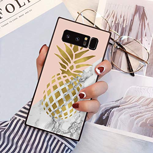 Square Pineapple Marble Samsung Galaxy Note 8 Case, JQLOVE All-Inclusive Full-Body Shockproof Protective Phone Cover, Case for Samsung Galaxy Note 8 Pineapple Marble