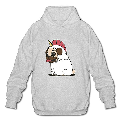 Price comparison product image Cute Pugdog Dog Unicorn Sit On GroundMen's Long Sleeve Cotton Pullover Hoodie Sweatshirts