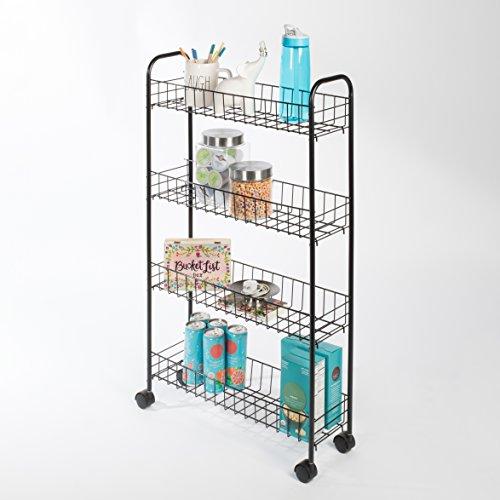 - Richards Homewares 101334 10334 4 Tier Rolling Slim Cart, 7