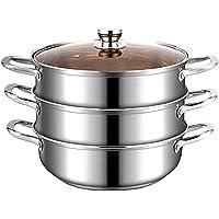 3-Tier Food Steamer Pan/Stock Pot, 304 Stainless Steel,Toughened Glass Lid and Heat-Resistant Handles 30cm Detazhi