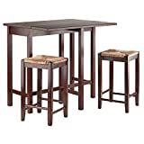 Winsome Lynwood Drop Leaf Table with Rush Seat Stool, 3-Piece