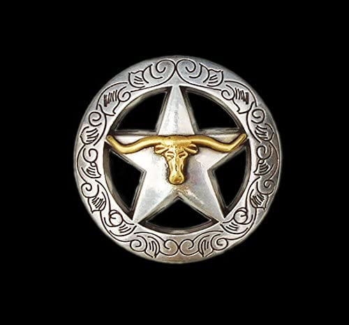 Western EquestrianカウボーイTackゴールドLonghorn Engravedのセット6コンチョ1 – 1 / 8