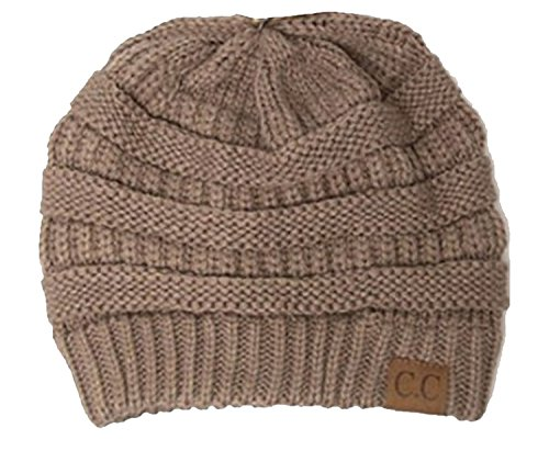 Thick Slouchy Knit Oversized Beanie Cap Hat,One Size,Taupe